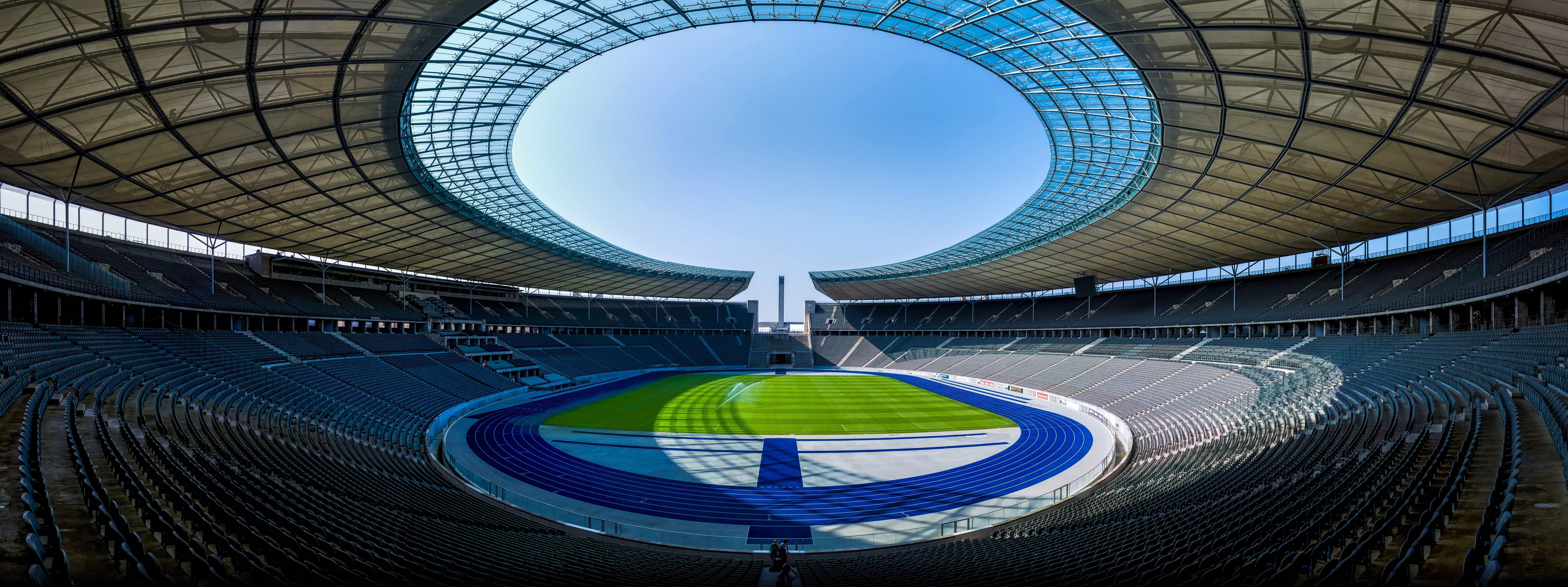The Olympiastadion, during a Bundesliga game between Hertha Berlin and  Borussia Dortmund in 2014.